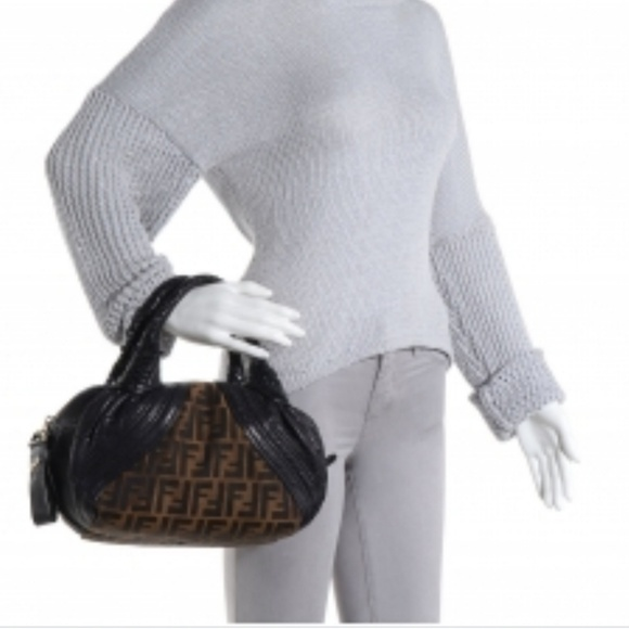 d036a306 FENDI Zucca Brown Leather Bauletto Baby Spy